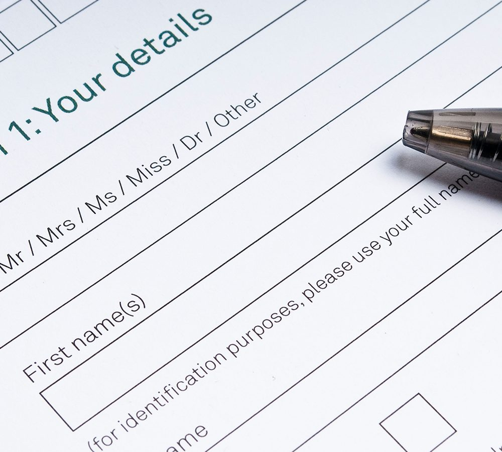 DRKED7 Application form to fill in with your details and pen